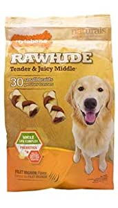 Enhanced Rawhide Small Braid for Adult Dogs, Filet Mignon Flavor, 18 Count Pouch