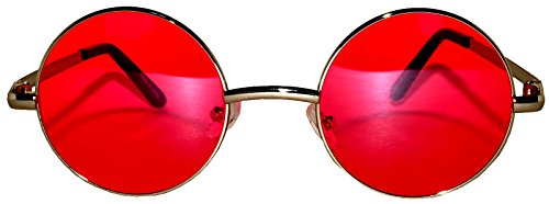 Round Red Lens Sunglasses Silver Metal Frame Spring hinge (Red Circle Lenses compare prices)