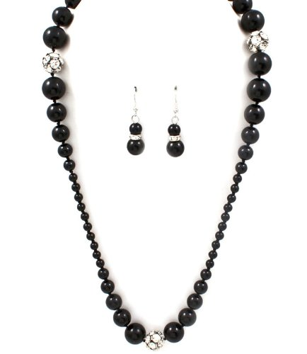 Sparkles Fashion Necklace - Black Necklace and Earring SET / Long Necklace / Pearl / Multi Strand / Crystal Studs / 34 Inch Long / Nickel and Lead Compliant / - Dangle Drop Chunky Statement Wedding Jewelry