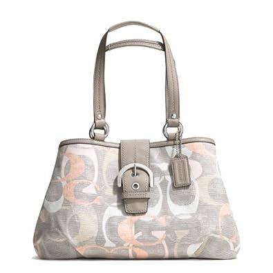 Coach Soho Optic Signature Linen Tote Shoulder Handbag, Style 19205 Multicolor