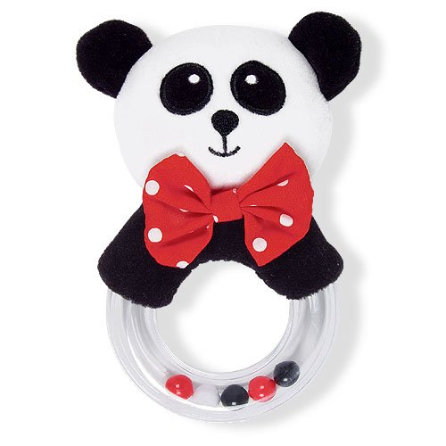 Black, White & Red Plush Panda Baby Rattle