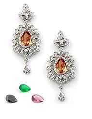 The Art Jewellery Ruby, Green , Topaz & Black Stones Multi-Colour Changeable AD Dangle&Drop Earrings For Women