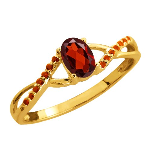 0.63 Ct Oval Red Garnet and Cognac Red Diamond 14k Yellow Gold Ring