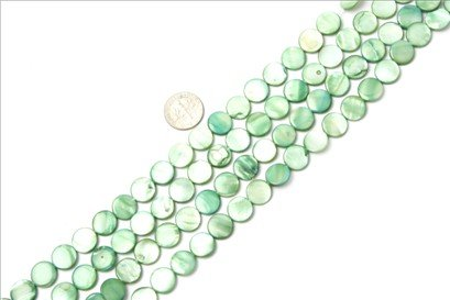 11mm coin gemstone green Sea shell beads strand 15