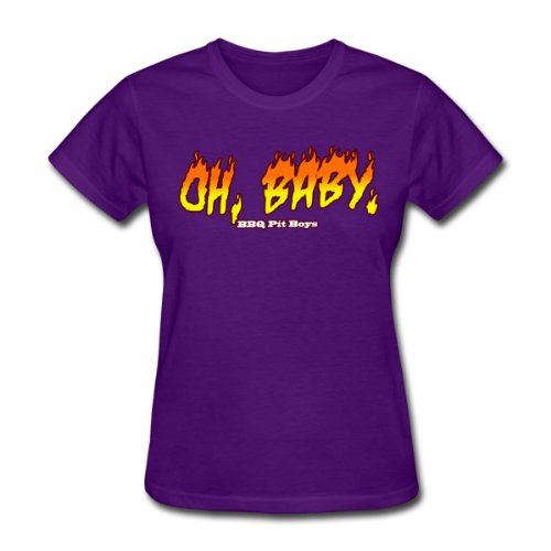 Spreadshirt Women'S Oh Baby BBQ Pitboys T-Shirt, Purple, L
