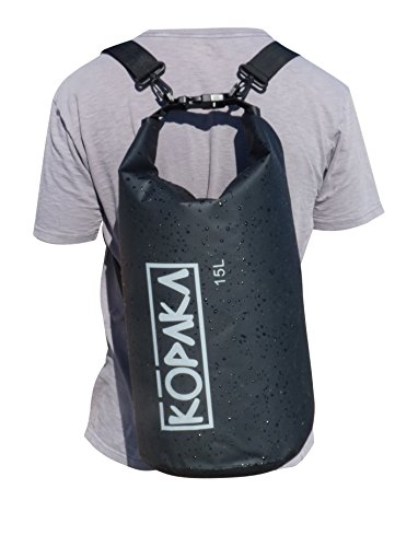 Waterproof Dry Bag Backpack (15L) by Kopaka - Lightweight Sports, Adventure Travel Bag with 2 Shoulder Straps