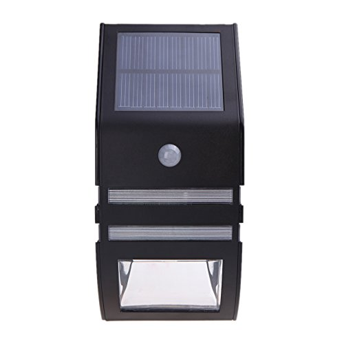 Docooler® Solar-Powered Light With 2Pcs Smd Leds Polycrystalline Solar Panel Pir Sensor Rechargeable Water-Resistant Environmental-Friendly For Pathway Outdoor Stair Step Garden Yard Black