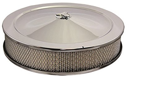 """Mota Performance A10158 Chrome Air Cleaner 14"""" X 3"""" Round High Dome Style with Paper Filter Element and High Lip base"""