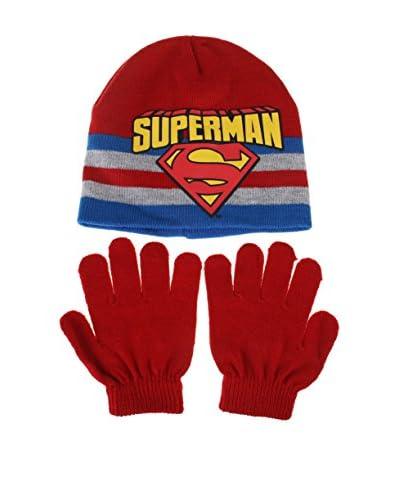DC COMICS Conjunto Gorro y Guantes Superman Stripe