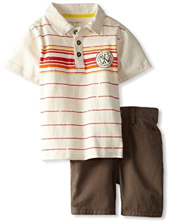 Calvin Klein Baby-Boy's Infant Stripe Polo Shirt With Shorts, White, 12 Months