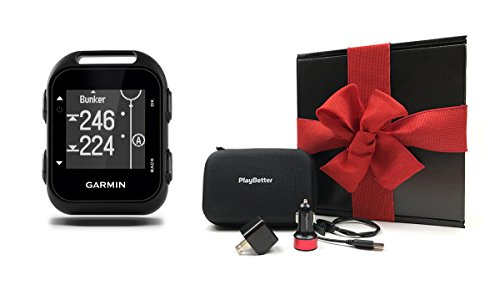 Garmin-Approach-G10-GIFT-BOX-Bundle-includes-Handheld-Golf-GPS-PlayBetter-USB-Car-Wall-Charging-Adapters-Garmin-Carrying-Case-Black-Gift-Box-and-Red-Bow