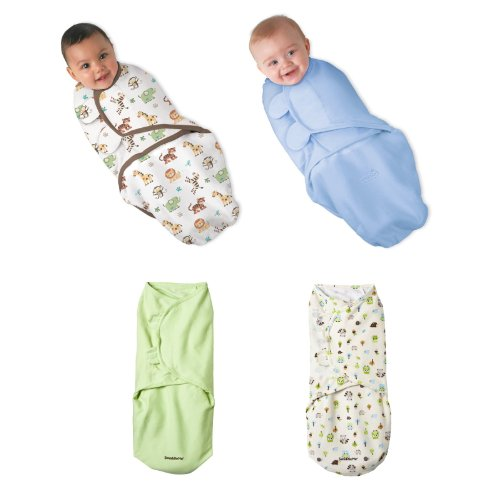 Summer Infant Swaddleme 100% Cotton Knit - 4 Pack, Jungle Fun (Large) front-574835