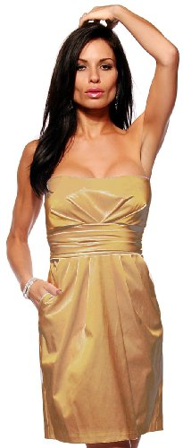 Strapless Fitted Satin Tube Pleated Pocket Evening Prom Party Mini Dress, Large, Gold Champagne
