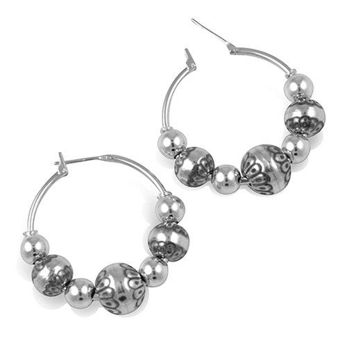 Sterling Silver Native Pearl Hoop Earrings
