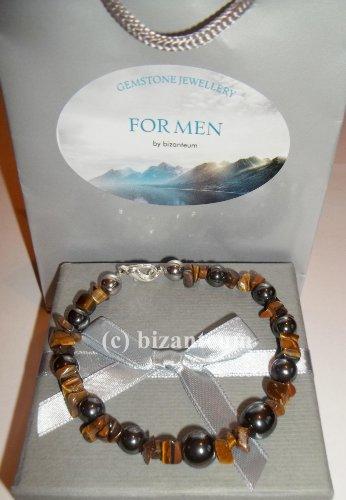 Gent's Hematite & Tiger's Eye Bracelet - Includes Gift Box & Gift Bag - Birthday, Father's Day, Anniversary, Valentine's