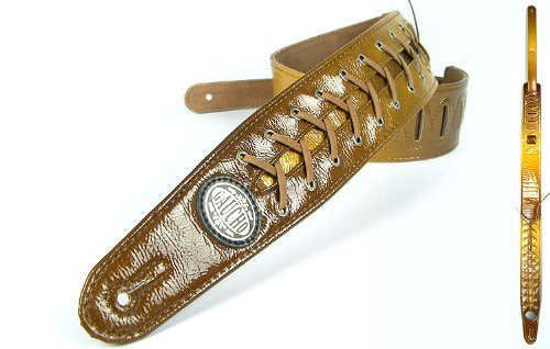 Gold 'Lace Series' Faux Leather Guitar Strap For Electric/Acoustic/Bass Guitar