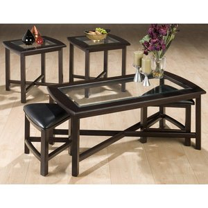 Jofran 5 Piece Glass Coffee Table, Stools and End Tables Set