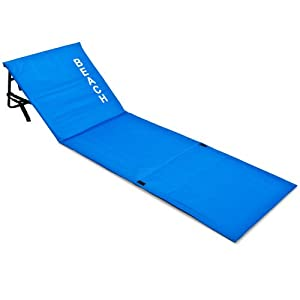 Portable Folding Beach Mat with Back Rest made of Polyester Outdoor Sun Lounger Bed Padded Blue 160x54cm
