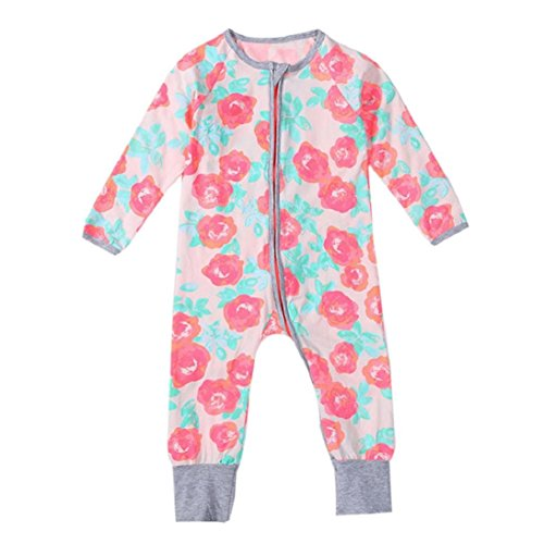 Fheaven Newborn Infant Baby Boys Girls Zipper Print Long Sleeve Romper Jumpsuit Clothes Outfits (0-2 years old) (Size:12M, Pink)