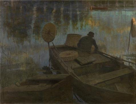 Oil Painting 'Fisherman In The Moonlight By Charles Mertens' 20 x 26 inch / 51 x 66 cm , on High Definition HD canvas prints is for Gifts And Bed Room, Game Room And Home Theater Decoration