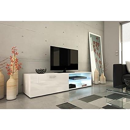 Kora meuble tv 160cm avec éclairage led - blanc brillant