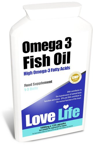 Love Life High Strength Omega 3 Fish Oil | Natural Source Of Omega 3 Essential Fatty Acids (Epa And Dha) | 1000Mg X 120 Capsules | Premium Gmp Supplement (Helps Maintain Healthy Skin, Hair, Teeth, Gums, Bones, Joints, Immune System, Cardiovascular System