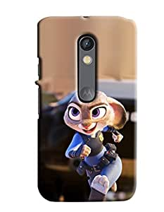 Blue Throat Sparrow Running Hard Plastic Printed Back Cover/Case For Moto X Play
