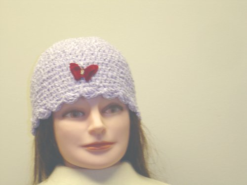 Cp122, Hand Crocheted Lilac Chenille Gimp Tweed Skull Cap with One Red Rhinestone Butterfly for Women and Teens - Buy Cp122, Hand Crocheted Lilac Chenille Gimp Tweed Skull Cap with One Red Rhinestone Butterfly for Women and Teens - Purchase Cp122, Hand Crocheted Lilac Chenille Gimp Tweed Skull Cap with One Red Rhinestone Butterfly for Women and Teens (Gita, Gita Hats, Womens Gita Hats, Apparel, Departments, Accessories, Women's Accessories, Hats)