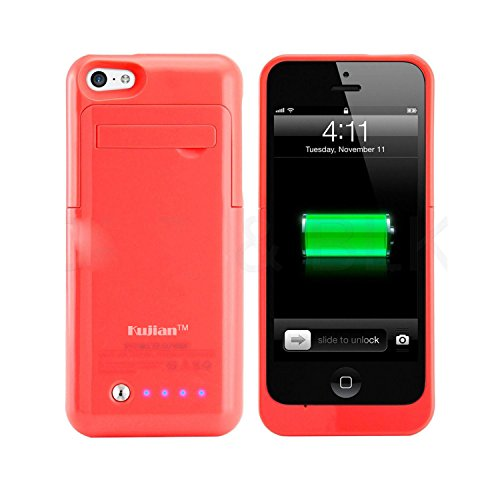 Iphone 5 Iphone 5s Iphone 5c Universal Slim Case Battery Rechargeable Backup Case Charger Battery Case Cover Portable Outdoor Moving Battery Slim Light External Battery 2200 Mah for Iphone 5 5s 5c with 4 LED Lights and Built-in Pop-out Kickstand Holder Support IOS 6 IOS 7 IOS 8 Short Circuit Protection 9 Colors Black White Blue Pink Green Yellow Rose Red Purple (pink) image