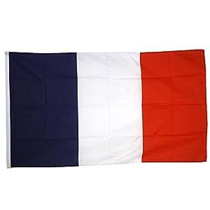 Supportershop France Drapeau de nation avec 2 oeillets métalliques Bleu/Blanc/Rouge 1,50 x 0,90 m