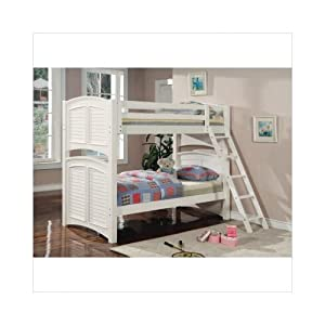 White Shutter HardWood Twin Full Size Bunk Bed from Coaster