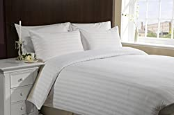 100% Egyptian Cotton Stripe White king size 1 Peice Razai/ Duvet Cover By Hothaat