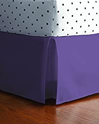 Rock Your Room Solid Bed Skirt, Full, Purple
