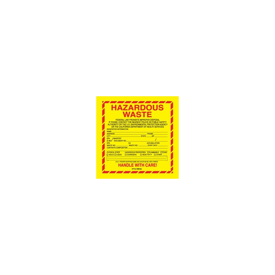 BOXDL7510   6 x 6   Hazardous Waste   California Labels