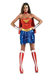 Deluxe Wonder Woman Costume Womens Costume From Express Fancy Dress , Color : Red , Size : Medium 10-12