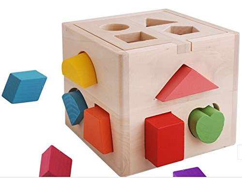 GoodPlay New Wooden Shape Sorter Cube Baby Toy Colorful Blocks - 1