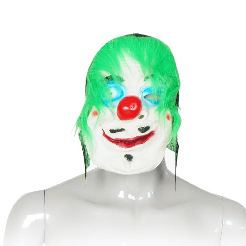 Como Halloween Party Green Faux Fur Red Big Nose Rubber White Clown Mask for Adult