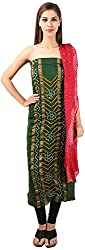 DESINER CLOTHLINE Women's Cotton Silk Unstitched Dress Material (Cl-12, Green And Maroon)