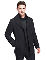 Autograph Mock Layer Coat with Wool