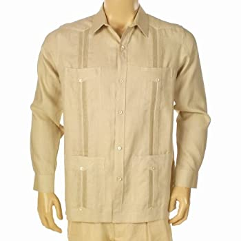Guayabera shirt for men. Elegant 100% irish linen plus. Long