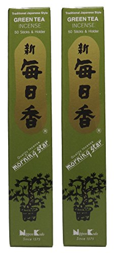 TRIMONTIUM-98711-Nippon-Kodo-Morning-Star-japanische-Rucherstbchen-Duopack-2-x-50-Stck-Grner-Tee-Green-Tea