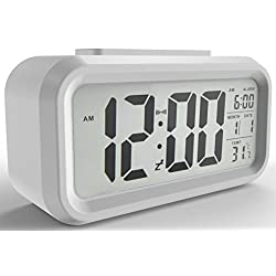 Gloue Digital Alarm Clock Battery Operated- Desk Clock- Temperature Display- Snooze and Large Display- Smart Night Light - Battery Operated Alarm Clock and Home Alarm Clock.(white)
