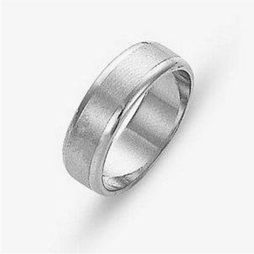 Sterling Silver, Satin and Polished 6MM Wedding Band (sz 13)