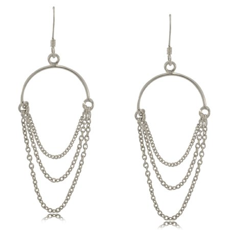 Dangle Earrings in Silver Ladies 3 Row Chain Hoop Hooks