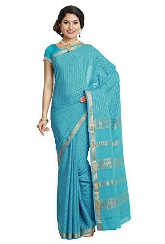 Kaushika Sarees Pure Crepe Traditional Mysore Silk lightblue Saree