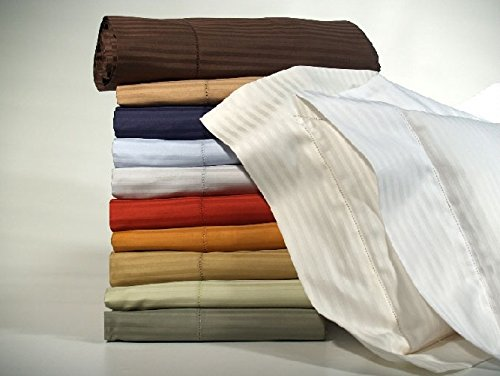 Bellino Millerighe 300TC Egyptian Cotton Individual Fitted Sheets - King Ivory (Bellino Sheets compare prices)