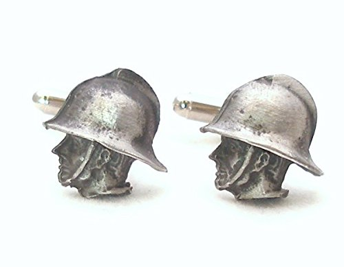 Solid Pewter Fireman Cufflinks With Gift Box