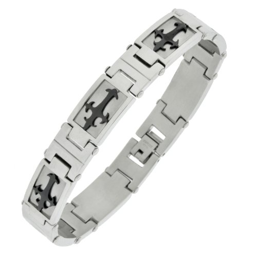Stainless Steel Black Ionic Plated Crosses Link Bracelet, 8.75