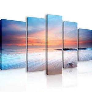 39 tramonto a nord 5 quadri moderni 110x60 cm stampa for Arredo casa amazon