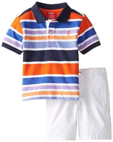 IZOD Little Boys' Striped Pique Polo with Solid Short Set, Peacoat, 3T/3